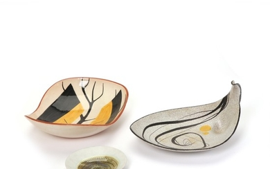 Herta Bengtsson, unknown ceramists: Three earthenware and stoneware dishes. Decorated with pattern in polychrome glazes. (3)