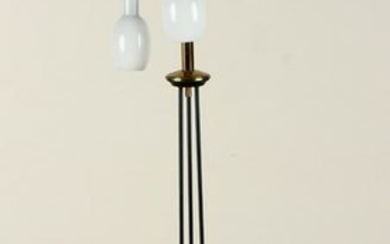 ITALIAN IRON BRASS THREE LIGHT FLOOR LAMP C.1960
