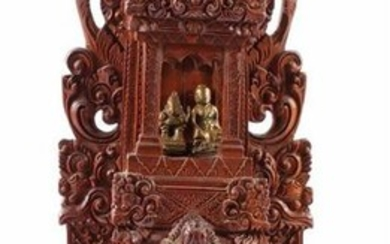 Indian richly carved wooden sculpture