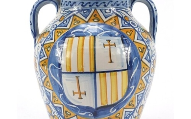 Italian Maiolica twin handled pottery vase hand painted with...
