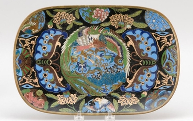 """JAPANESE CLOISONNÉ ENAMEL TRAY Decoration of ho bird and paulownia surrounded by butterflies and flowers. Length 12.2""""."""