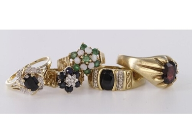 Job lot of 9ct hallmarked and 9ct marked Gold Rings stone se...