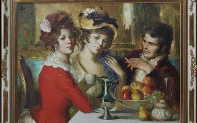 """Jose Puyet (1922-2004, Spain), """"In the Salon,"""" 20th c."""