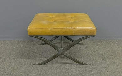 Keno Brothers' Bronze and Leather Stool
