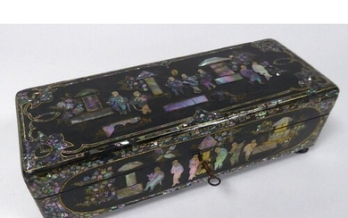 LATE NINETEENTH CENTURY BLACK LACQUERED AND MOTHER OF PEARL ...