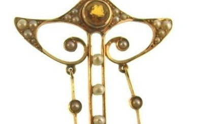 LOVELY 14k Yellow Gold, Citrine & Natural Pearl Art