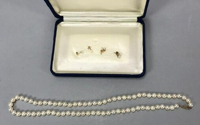 Ladies Pearl Necklace and Earrings