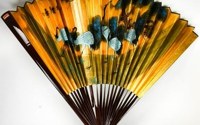 Large Chinese Hand Painted Gilt Wall Fan