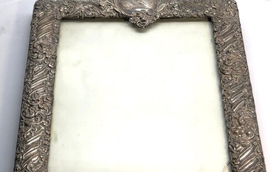 Large antique silver picture frame measures approx 29cm by ...