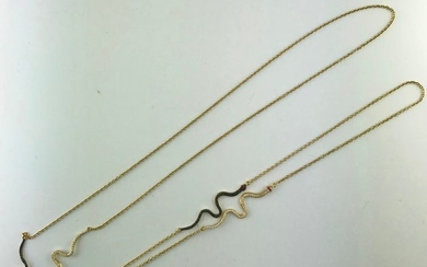 Long necklace in 750°/°° gold set with snakes...