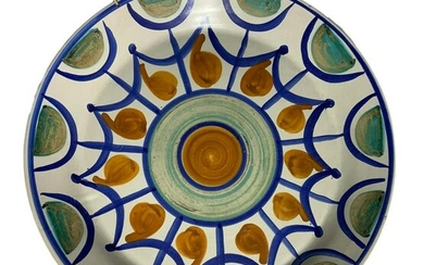Majolica plate of Caltagirone, Sicily. Decorated with