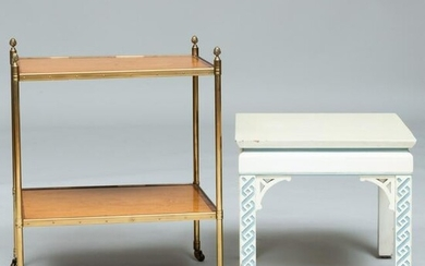 Modern Brass-Mounted Satinwood Cross Banded Two-Tier