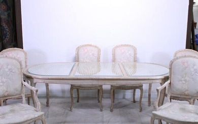 Modern Glass & Rattan Top Dining Table & 6 Chairs