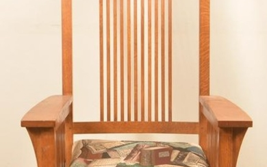 Modern Signed Stickley Oak Rocking Chair.