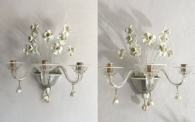 N. Martinuzzi Italian Lighting 2 Glass Wall Lights