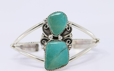 Native American Kingman Turquoise Cuff Bangle by
