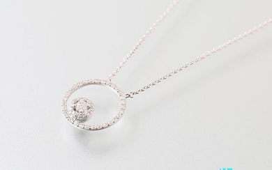 """Necklace """"Cercle"""" white gold 750 thousandths set with..."""
