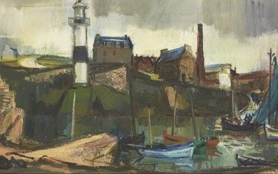 P. Girol, French 20th century- Le petit port; oil on...
