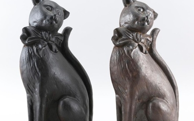 """PAIR OF CAST IRON CAT DOORSTOPS Slightly different finishes. Heights 15""""."""