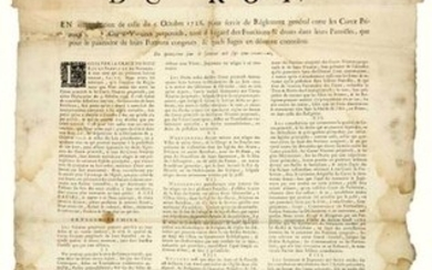 """PARLIAMENT OF ROUEN. 1731. Rules """"For PERPETUAL VICTIMS"""". """"Declaration of KING LOUIS XV, in interpretation of that of October 5, 1726 to serve as a Regulation between the Primitive & Perpetual Vicars, both with regard to the functions & rights in the..."""