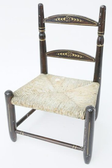 Paint Decorated Rush Seat Ladder Back Dolls Chair, 19th