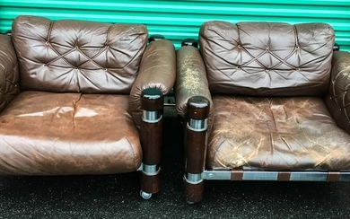 Pair Contemporary Distressed Leather Club Chairs