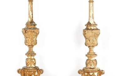 Pair Early 19th C Italian Carved Pricket Sticks