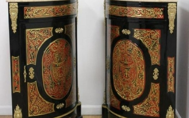 Pair Of Boulle Style Marble Top Corner Cabinets