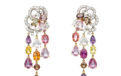 Pair of Coloured Sapphire and Diamond Pendent Earrings