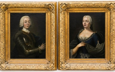 Pair of French School 18th Cent. Portrait Paintings Oil