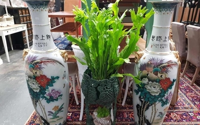Pair of Large Chinese Porcelain Double Handled Floor Vases, both with chrysanthenums and ho-ho bird, circa 1970s (H: 130 x D: 40cm)