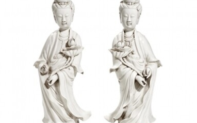 Pair of 'blanc de Chine' porcelain Guanyin China, 20th Century