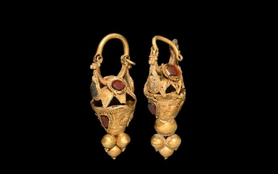 Parthian Gold and Gemstone Earring Pair