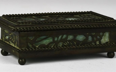 RIVIERE STUDIOS BRONZE and SLAG GLASS STAMP BOX