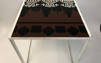 """ROGER CAPRON HAND PAINTED ITALIAN TILE TABLE 18.5"""""""