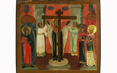 "RUSLAND - ca 1800 ikoon : ""De verheerlijking van het waarheidskruis"" - 43 x 48 