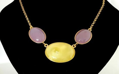 Remarkable Vintage Amber Necklace made from Cabochon