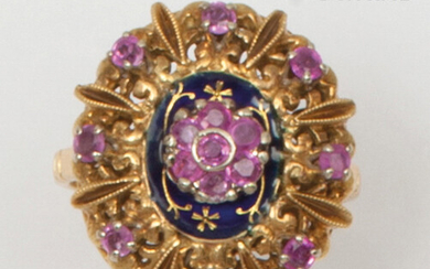 """Rosace"""" ring in chiselled yellow gold, partially enamelled blue and decorated with golden flowers, set with faceted rubies. Finger size : 47. Gross weight : 5,9g."""