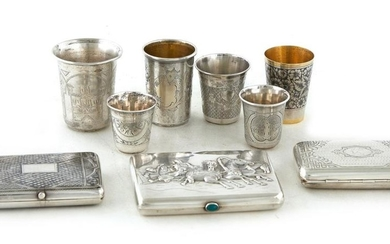 Russian silver beakers and cases (9pcs)