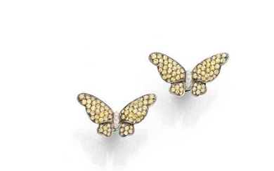 SAPPHIRE AND DIAMOND BUTTERFLY EARRINGS.