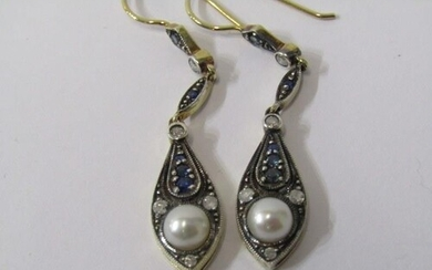 SAPPHIRE, DIAMOND & PEARL DROP EARRINGS, on 9ct yellow gold ...