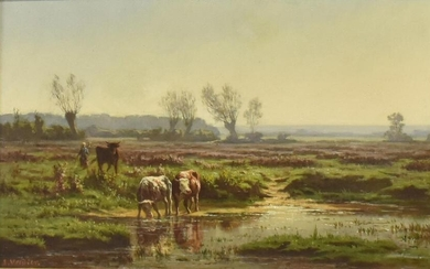 SIGNED OIL PAINTING LANDSCAPE WITH CATTLE, 19TH C