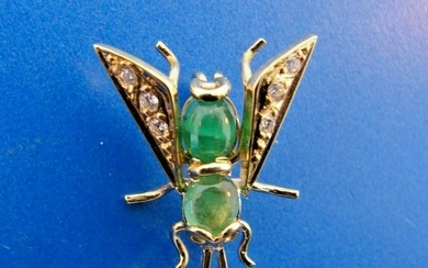 SMALL WORLD 14k Yellow Gold, Diamond & Emerald Bug Pin