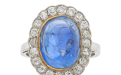 Sapphire, Diamond, Platinum, Gold Ring The ring features an...