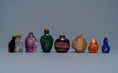Seven Chinese hardstone, agate and quartz snuff bottles,...