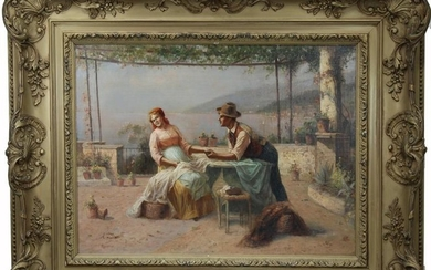 """Signed, 19th C. Italian Painting, """"The Proposal"""""""
