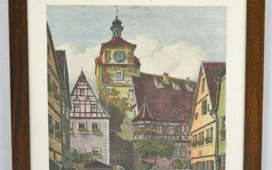 Signed Ernst Geissendoerfer Etching Of A Clock Tower