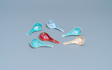 Six various Chinese enamelled spoons, 19/20th C.