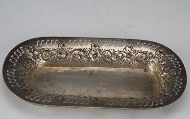 Sterling Silver Floral Reticulated Repousse Tray