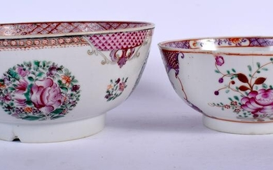 TWO 18TH CENTURY CHINESE EXPORT BOWLS Qianlong. Largest